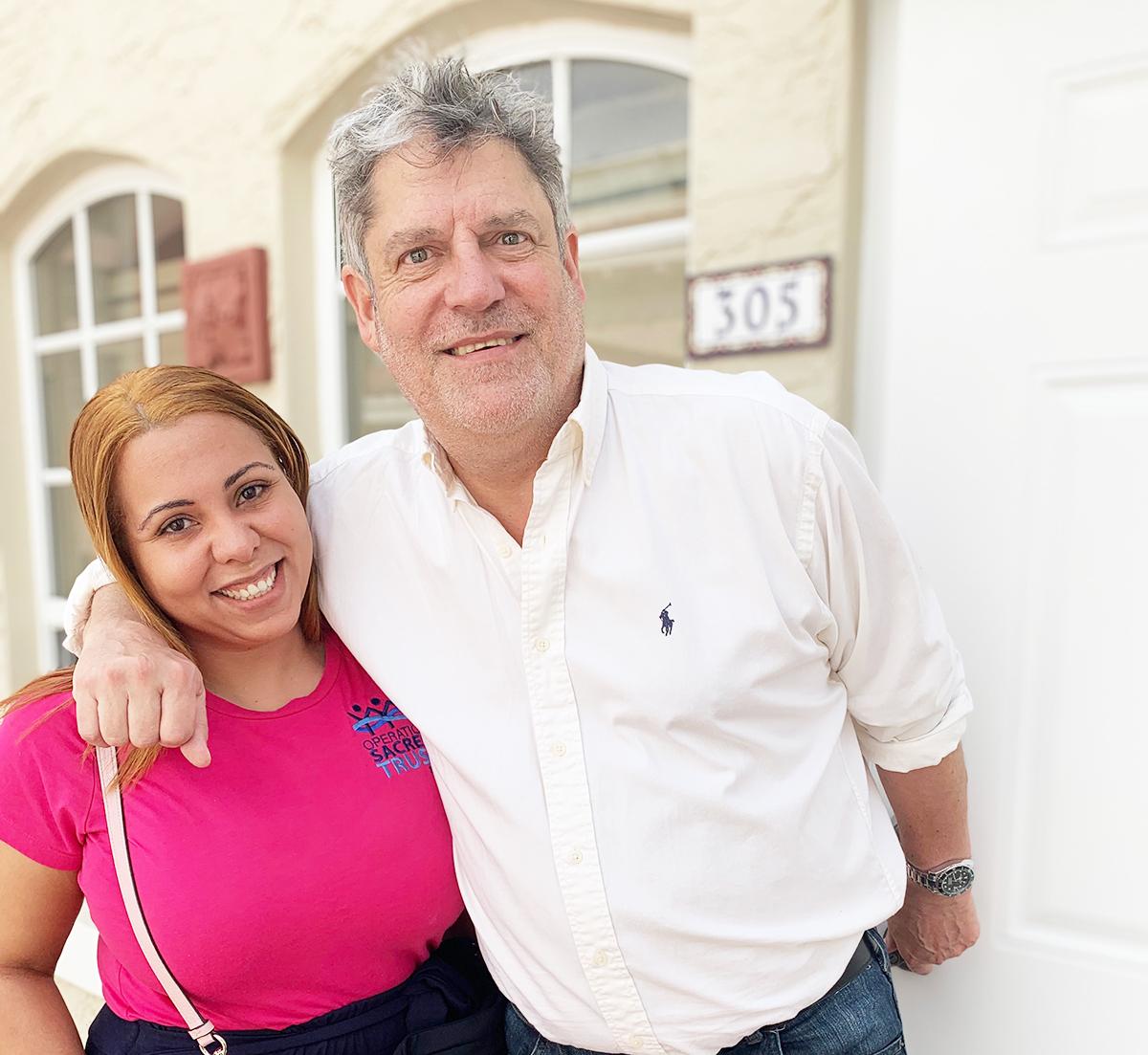 Ana Rubirosa with Veteran Robert Jacoby at his new Miami Beach apartment.