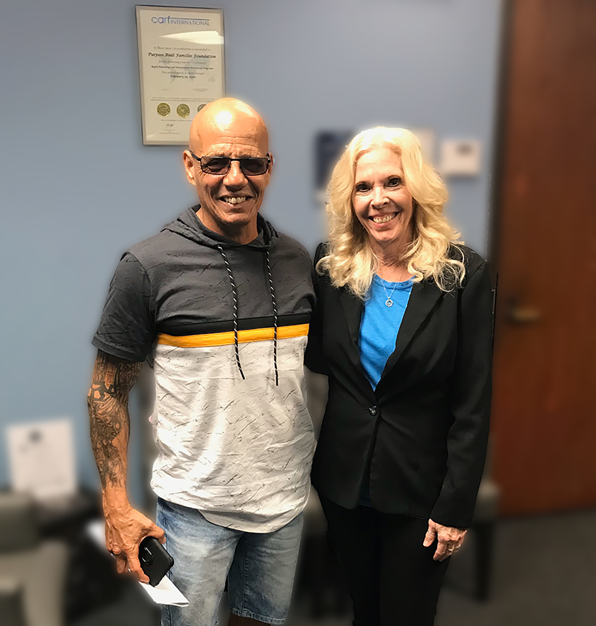 Operation Sacred Trust Director Camille Eisenmann with Ramon Gonzalez.